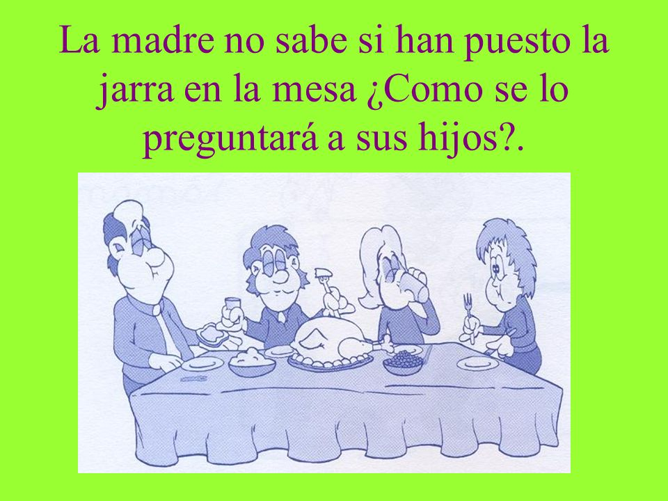 La madre no sabe si han puesto la jarra en la mesa ¿Como se lo preguntará a sus hijos .