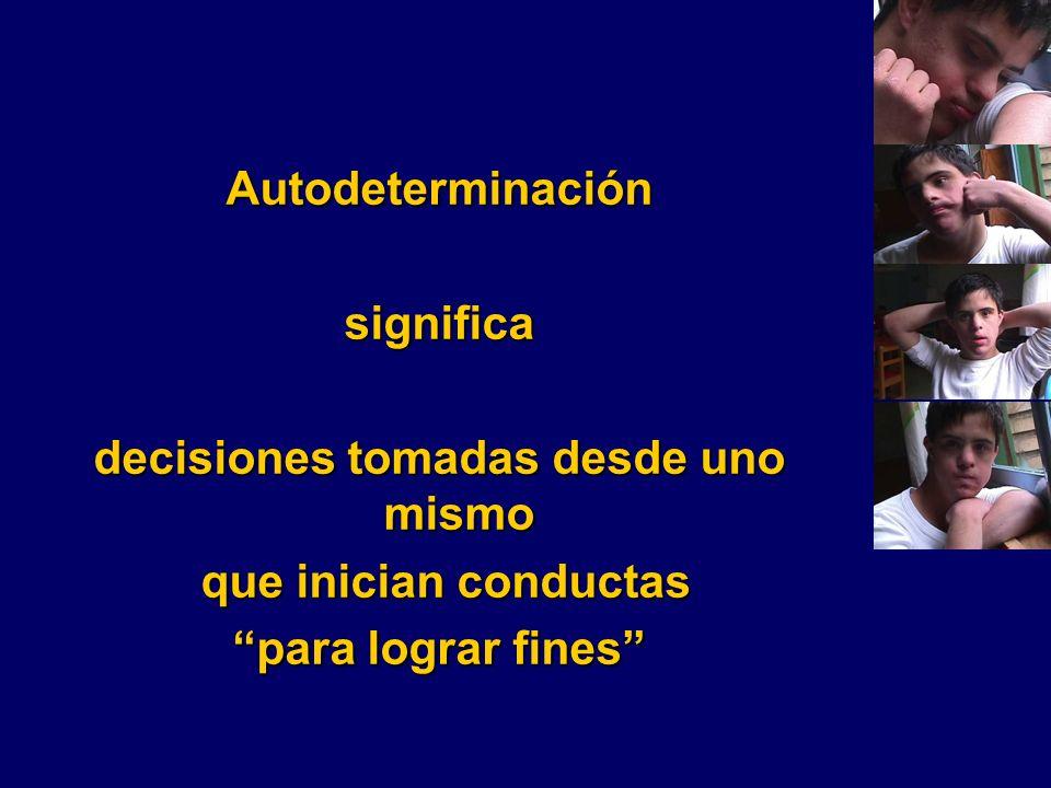 Autodeterminaciónsignifica decisiones tomadas desde uno mismo que inician conductas que inician conductas para lograr fines
