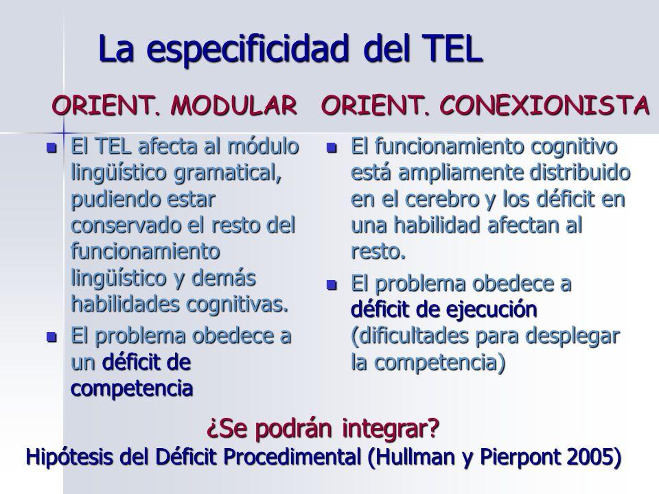 La especificidad del TEL El TEL afecta al módulo lingüístico gramatical, pudiendo estar conservado el resto del funcionamiento lingüístico y demás hab