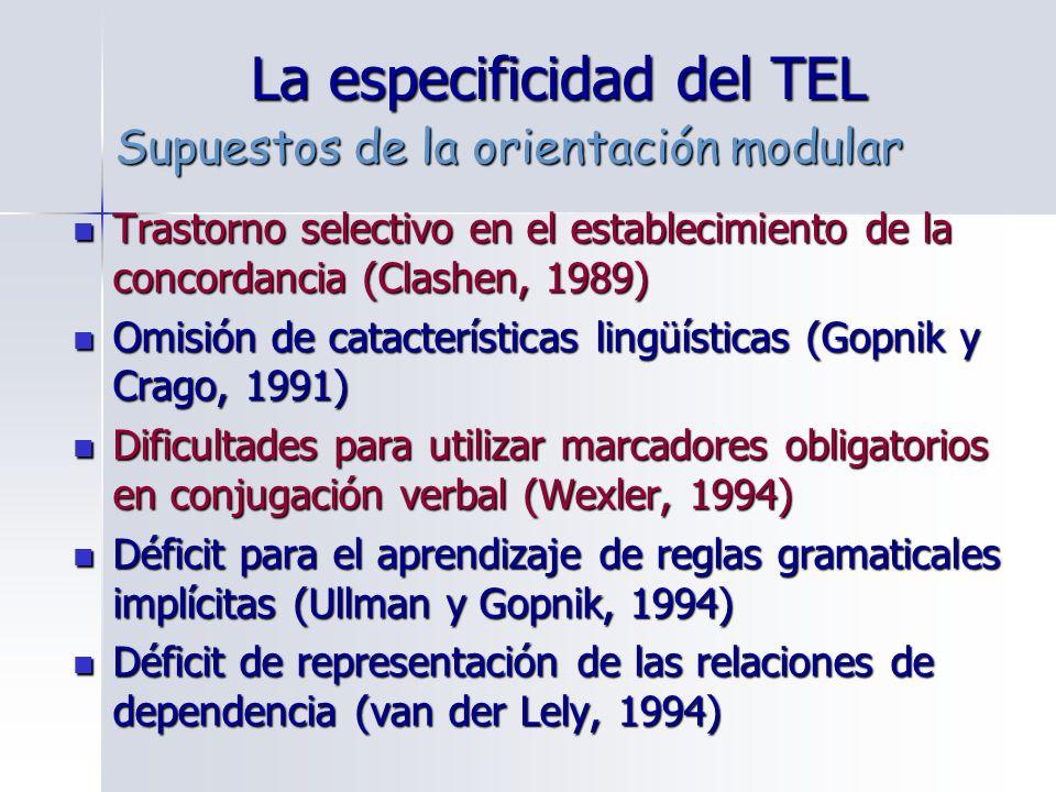 La especificidad del TEL Trastorno selectivo en el establecimiento de la concordancia (Clashen, 1989) Trastorno selectivo en el establecimiento de la