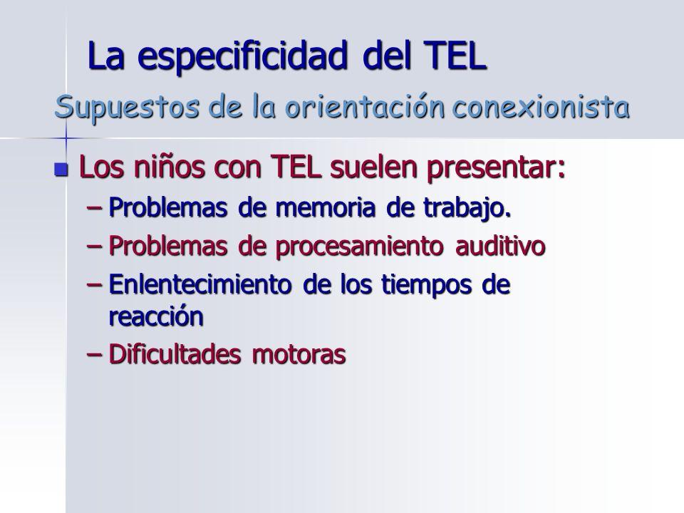 La especificidad del TEL Los niños con TEL suelen presentar: Los niños con TEL suelen presentar: –Problemas de memoria de trabajo. –Problemas de proce