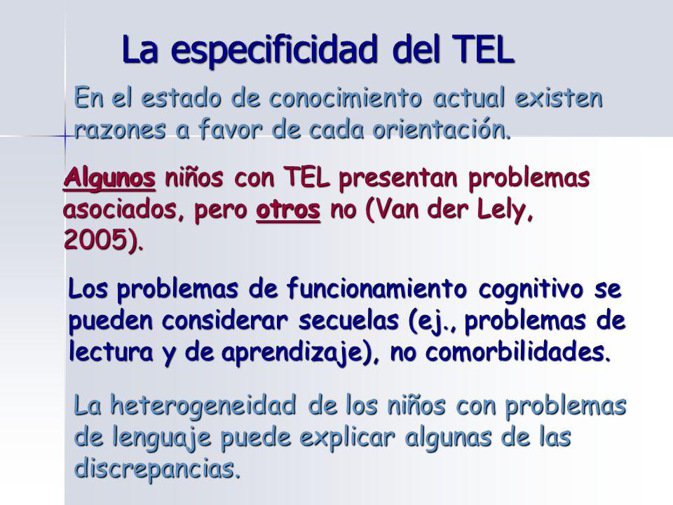La especificidad del TEL En el estado de conocimiento actual existen razones a favor de cada orientación. Algunos niños con TEL presentan problemas as