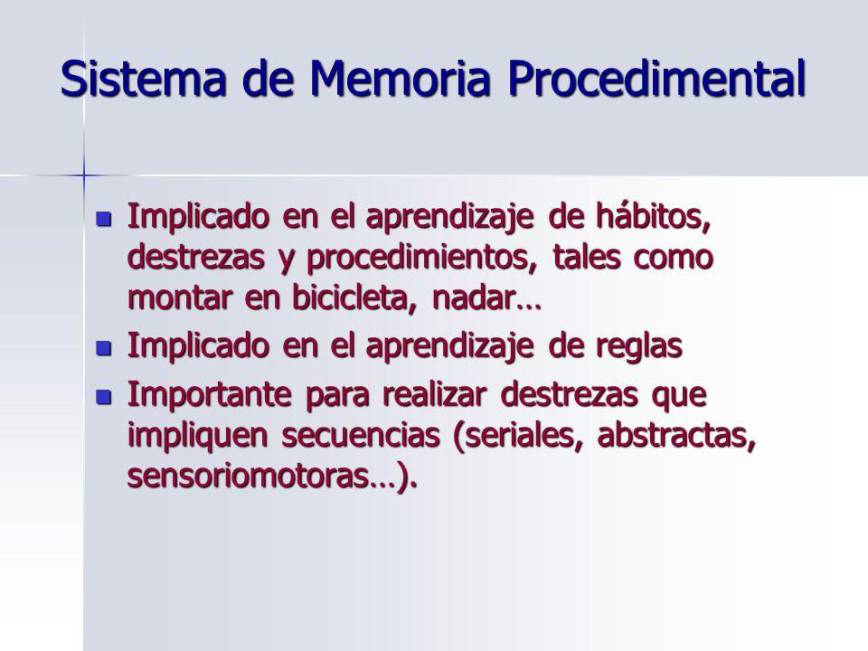 Sistema de Memoria Procedimental Implicado en el aprendizaje de hábitos, destrezas y procedimientos, tales como montar en bicicleta, nadar… Implicado