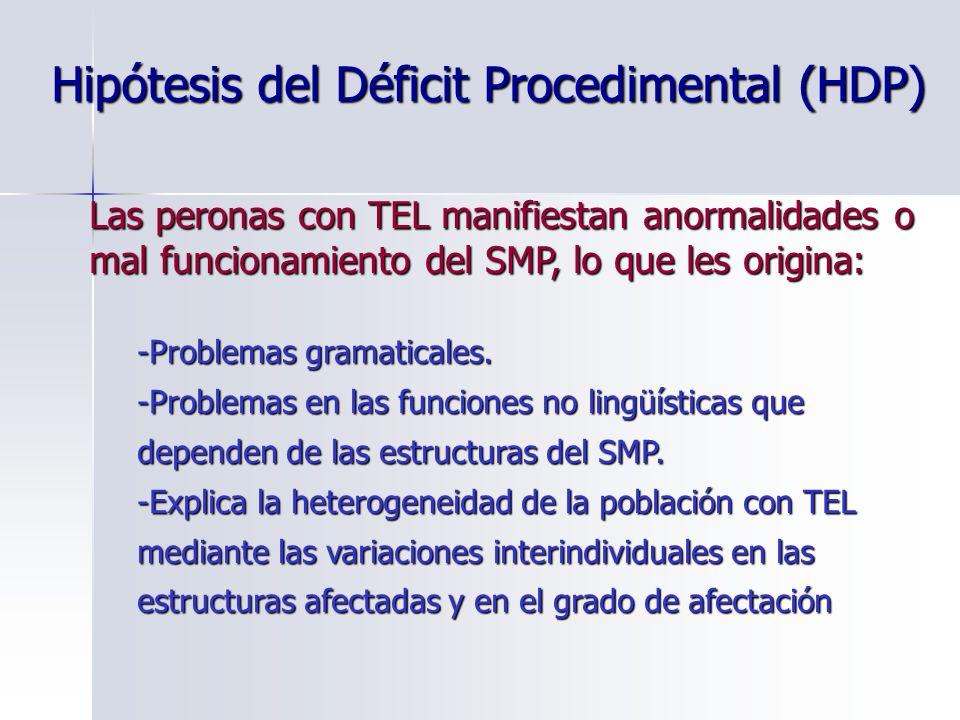 Hipótesis del Déficit Procedimental (HDP) Las peronas con TEL manifiestan anormalidades o mal funcionamiento del SMP, lo que les origina: -Problemas g