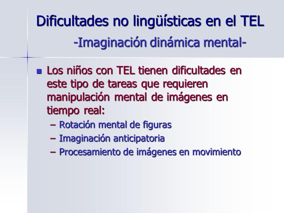 Dificultades no lingüísticas en el TEL Los niños con TEL tienen dificultades en este tipo de tareas que requieren manipulación mental de imágenes en t