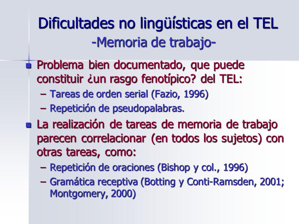 Dificultades no lingüísticas en el TEL Problema bien documentado, que puede constituir ¿un rasgo fenotípico? del TEL: Problema bien documentado, que p