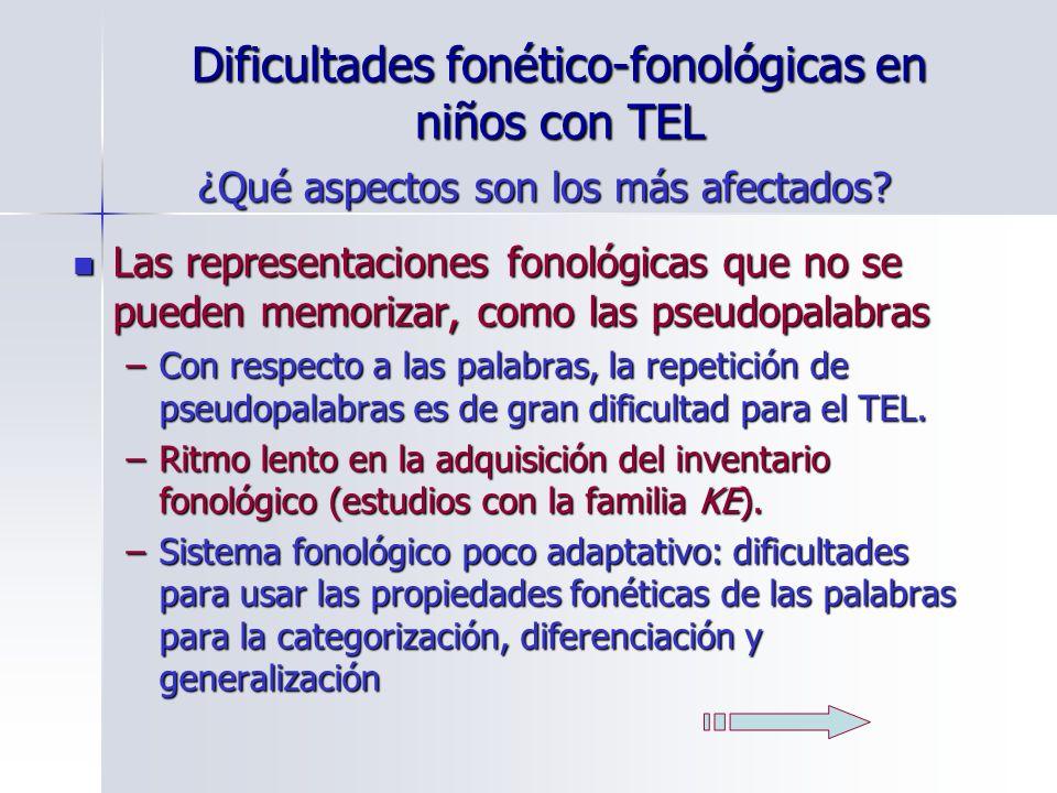 Dificultades fonético-fonológicas en niños con TEL Las representaciones fonológicas que no se pueden memorizar, como las pseudopalabras Las representa