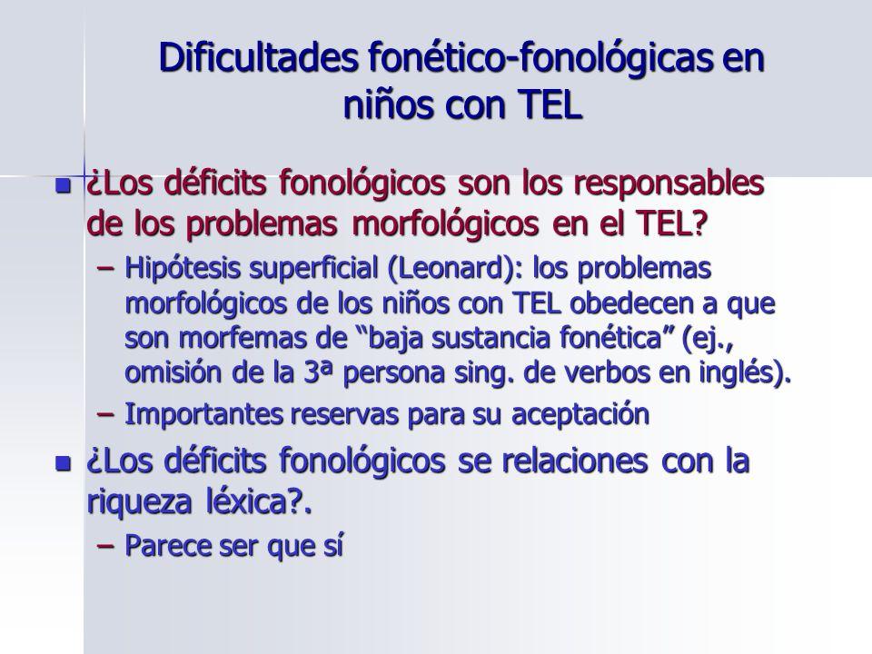Dificultades fonético-fonológicas en niños con TEL ¿Los déficits fonológicos son los responsables de los problemas morfológicos en el TEL? ¿Los défici