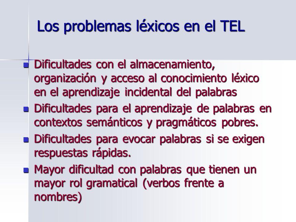 Los problemas léxicos en el TEL Dificultades con el almacenamiento, organización y acceso al conocimiento léxico en el aprendizaje incidental del pala