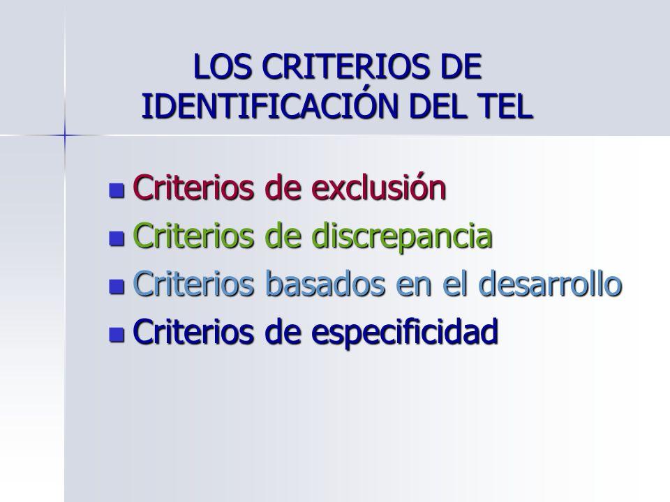 LOS CRITERIOS DE IDENTIFICACIÓN DEL TEL Criterios de exclusión Criterios de exclusión Criterios de discrepancia Criterios de discrepancia Criterios ba