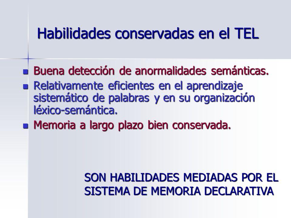 Habilidades conservadas en el TEL Buena detección de anormalidades semánticas. Buena detección de anormalidades semánticas. Relativamente eficientes e