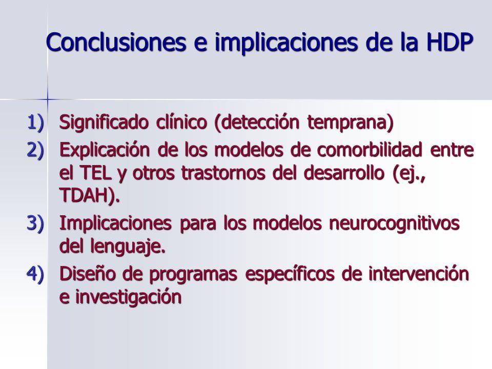 Conclusiones e implicaciones de la HDP 1)Significado clínico (detección temprana) 2)Explicación de los modelos de comorbilidad entre el TEL y otros tr