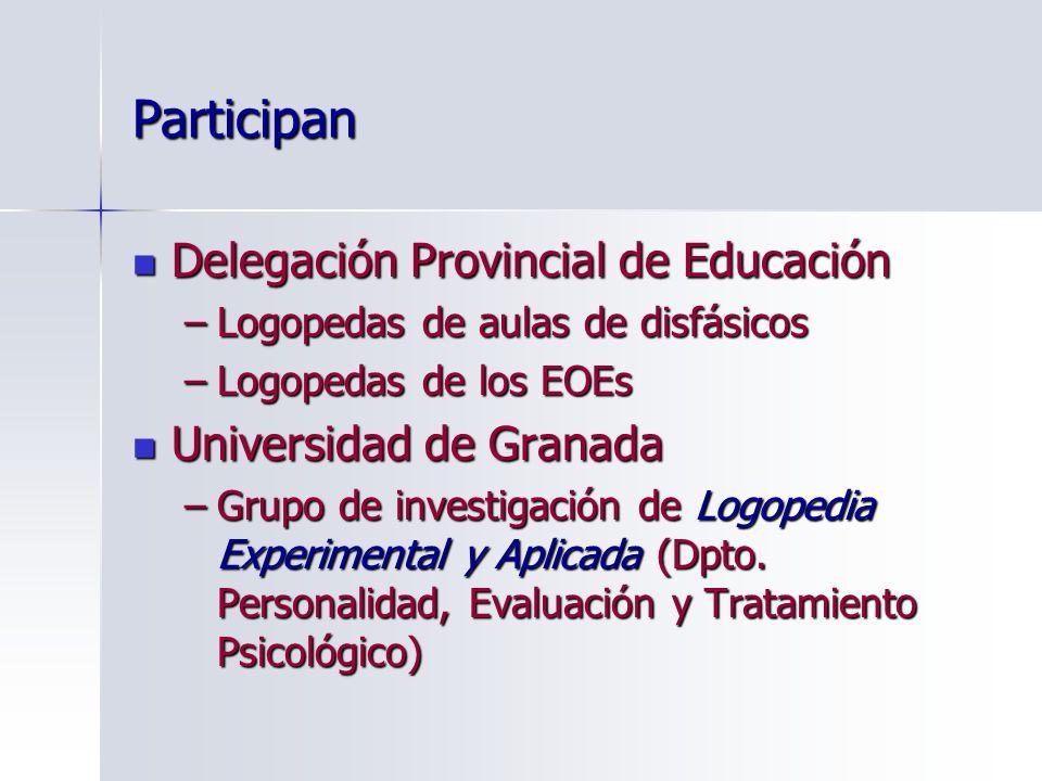 Participan Delegación Provincial de Educación Delegación Provincial de Educación –Logopedas de aulas de disfásicos –Logopedas de los EOEs Universidad