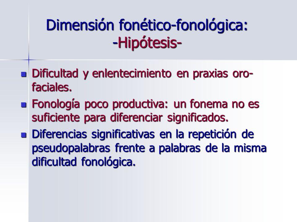 Dimensión fonético-fonológica: -Hipótesis- Dificultad y enlentecimiento en praxias oro- faciales. Dificultad y enlentecimiento en praxias oro- faciale