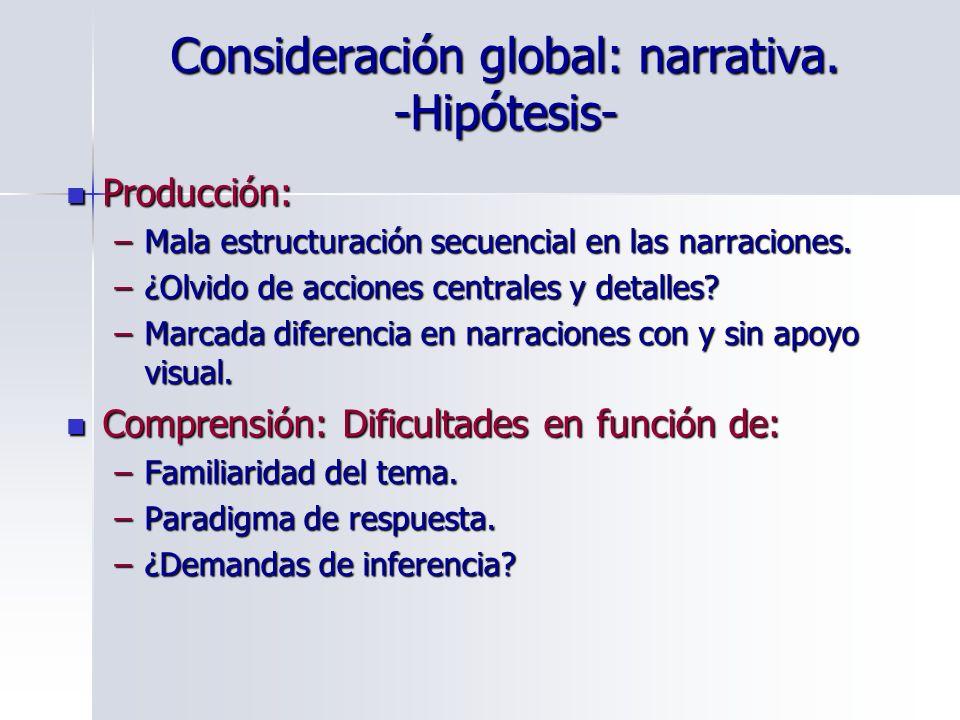 Consideración global: narrativa. -Hipótesis- Producción: Producción: –Mala estructuración secuencial en las narraciones. –¿Olvido de acciones centrale