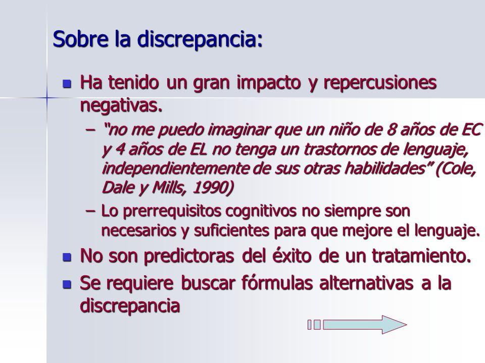 Formulas alternativas a la discrepancia Discrepancia intralingüística Unas habilidades lingüísticas están relativamente bien desarrolladas en el TEL, mientras otras están alteradas.