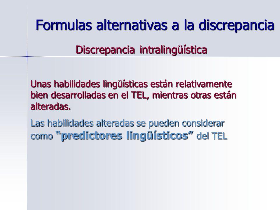 Formulas alternativas a la discrepancia Discrepancia intralingüística Unas habilidades lingüísticas están relativamente bien desarrolladas en el TEL,