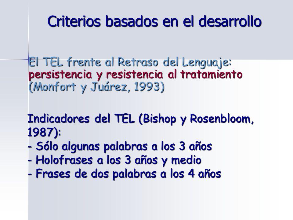 El TEL frente al Retraso del Lenguaje: persistencia y resistencia al tratamiento (Monfort y Juárez, 1993) Indicadores del TEL (Bishop y Rosenbloom, 19