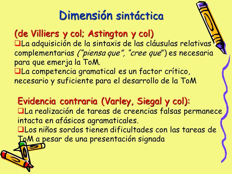 Dimensión sintáctica (de Villiers y col; Astington y col) La adquisición de la sintaxis de las cláusulas relativas complementarias (piensa que, cree que) es necesaria para que emerja la ToM.
