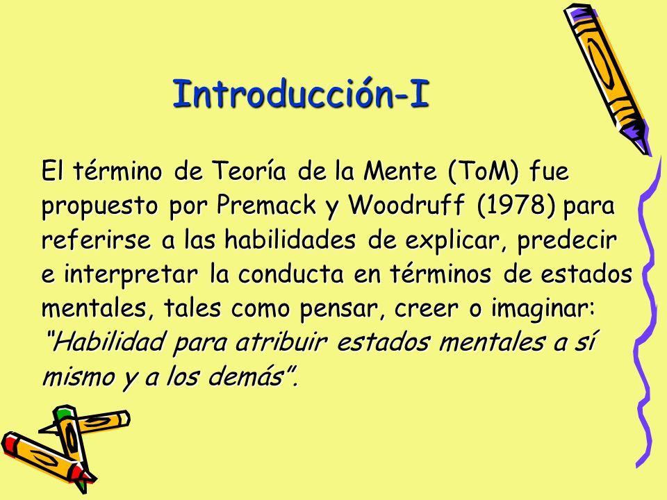 El término de Teoría de la Mente (ToM) fue propuesto por Premack y Woodruff (1978) para referirse a las habilidades de explicar, predecir e interpretar la conducta en términos de estados mentales, tales como pensar, creer o imaginar: Habilidad para atribuir estados mentales a sí mismo y a los demás.