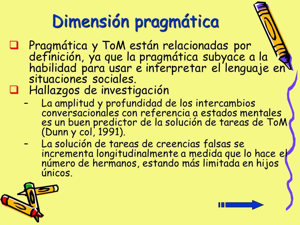 Dimensión pragmática Pragmática y ToM están relacionadas por definición, ya que la pragmática subyace a la habilidad para usar e interpretar el lenguaje en situaciones sociales.