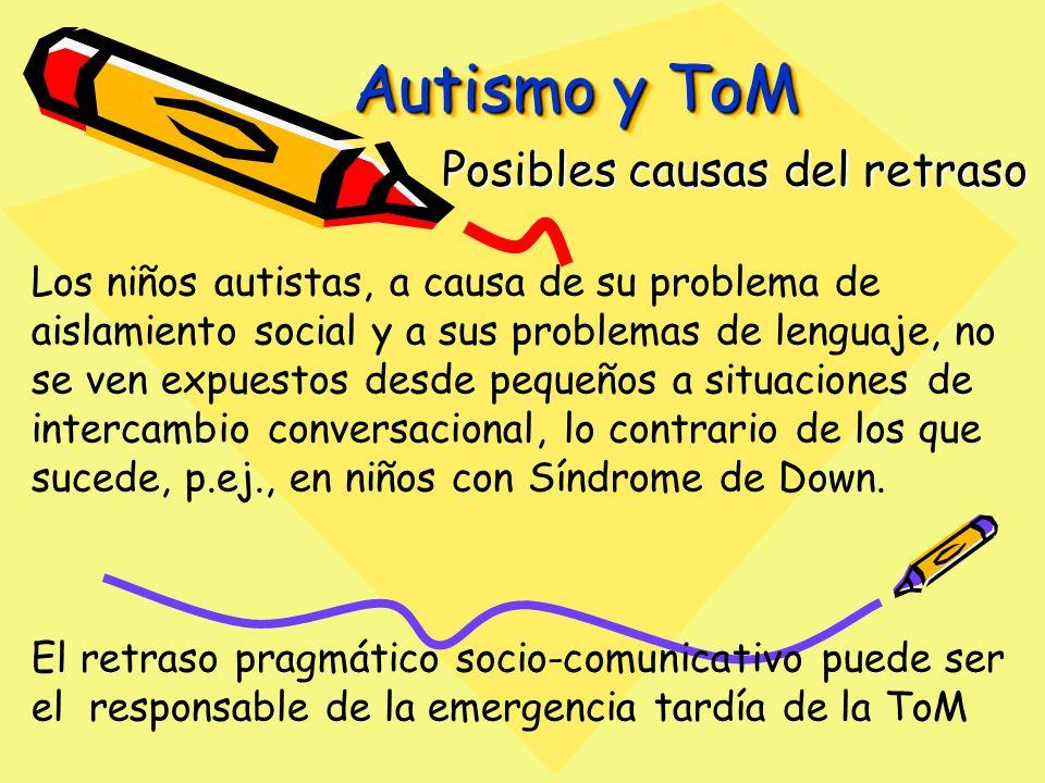 Autismo y ToM Posibles causas del retraso Los niños autistas, a causa de su problema de aislamiento social y a sus problemas de lenguaje, no se ven expuestos desde pequeños a situaciones de intercambio conversacional, lo contrario de los que sucede, p.ej., en niños con Síndrome de Down.