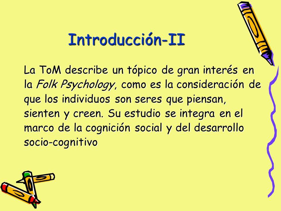 Introducción-II La ToM describe un tópico de gran interés en la Folk Psychology, como es la consideración de que los individuos son seres que piensan, sienten y creen.