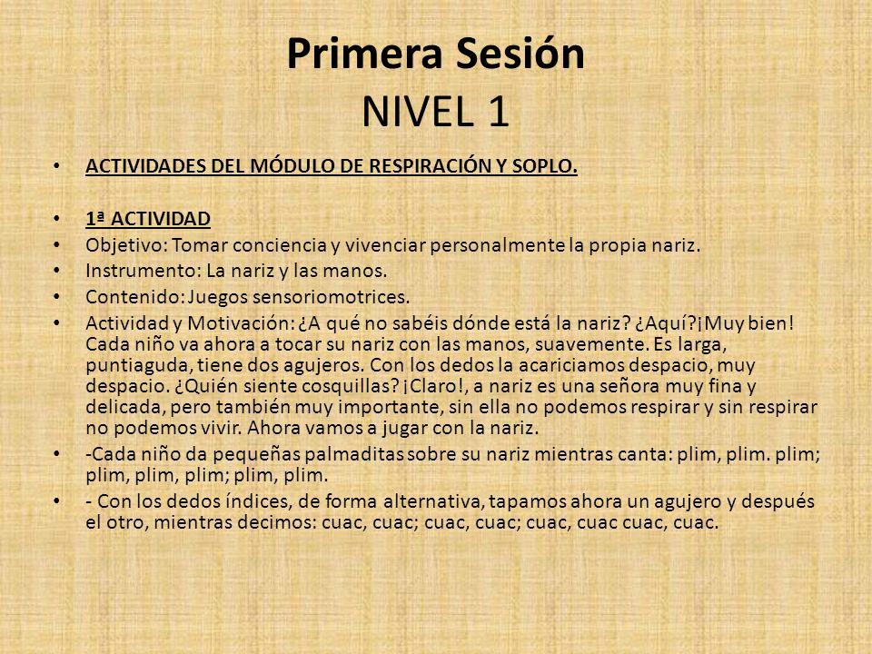 Primera Sesión NIVEL 1 ACTIVIDADES DEL MÓDULO DE RESPIRACIÓN Y SOPLO. 1ª ACTIVIDAD Objetivo: Tomar conciencia y vivenciar personalmente la propia nari
