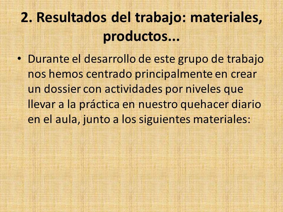 2. Resultados del trabajo: materiales, productos... Durante el desarrollo de este grupo de trabajo nos hemos centrado principalmente en crear un dossi