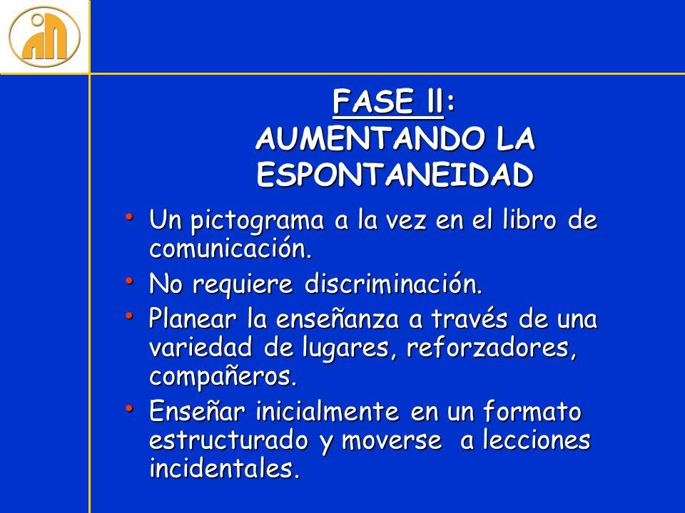 FASE ll: AUMENTANDO LA ESPONTANEIDAD Un pictograma a la vez en el libro de comunicación. Un pictograma a la vez en el libro de comunicación. No requie