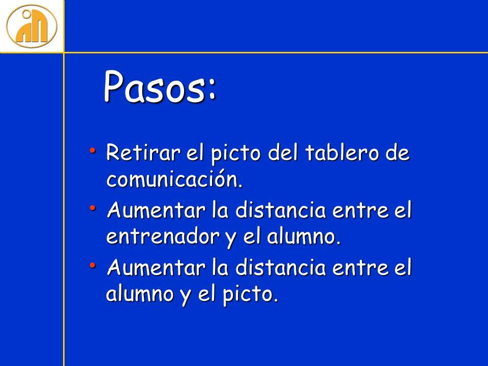 Pasos: Retirar el picto del tablero de comunicación. Retirar el picto del tablero de comunicación. Aumentar la distancia entre el entrenador y el alum
