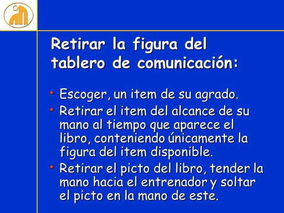 Retirar la figura del tablero de comunicación: Escoger, un item de su agrado. Escoger, un item de su agrado. Retirar el item del alcance de su mano al