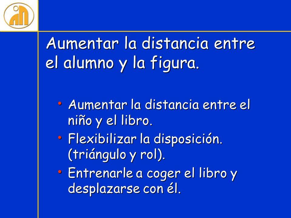 Aumentar la distancia entre el alumno y la figura. Aumentar la distancia entre el niño y el libro. Aumentar la distancia entre el niño y el libro. Fle