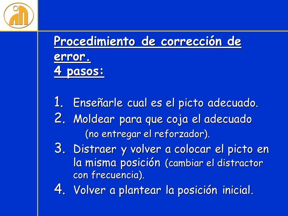 Procedimiento de corrección de error. 4 pasos: 1. Enseñarle cual es el picto adecuado. 2. Moldear para que coja el adecuado (no entregar el reforzador