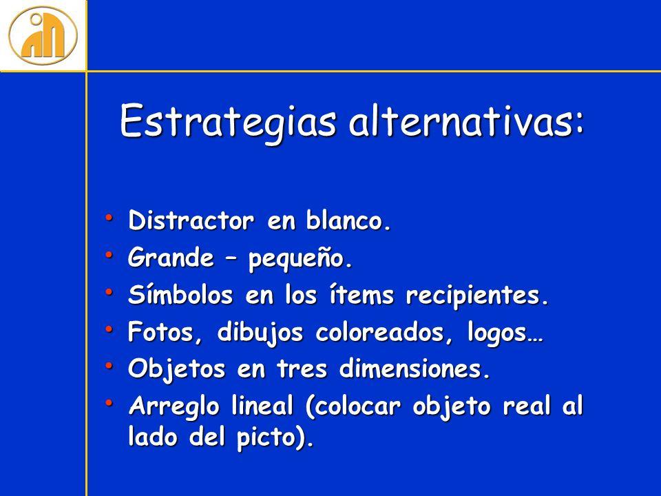 Estrategias alternativas: Distractor en blanco. Distractor en blanco. Grande – pequeño. Grande – pequeño. Símbolos en los ítems recipientes. Símbolos