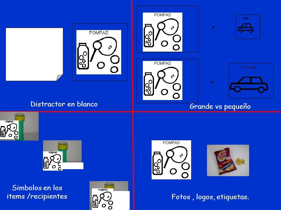 + + Distractor en blanco Grande vs pequeño Simbolos en los items /recipientes Fotos, logos, etiquetas.