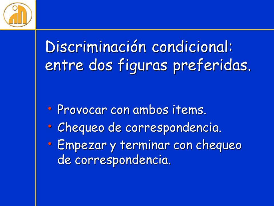 Discriminación condicional: entre dos figuras preferidas. Provocar con ambos items. Provocar con ambos items. Chequeo de correspondencia. Chequeo de c
