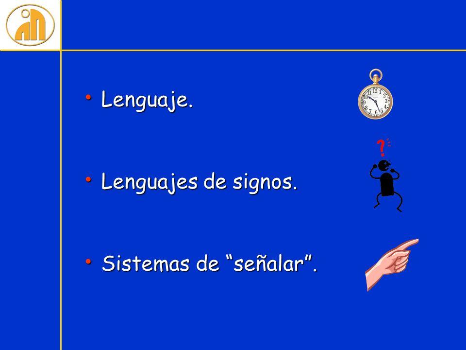 Lenguaje. Lenguaje. Lenguajes de signos. Lenguajes de signos. Sistemas de señalar. Sistemas de señalar.
