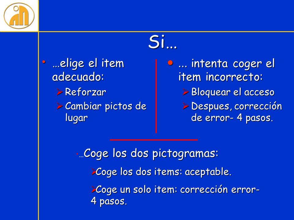 Si… Si… …elige el item adecuado: …elige el item adecuado: Reforzar Reforzar Cambiar pictos de lugar Cambiar pictos de lugar … intenta coger el item in