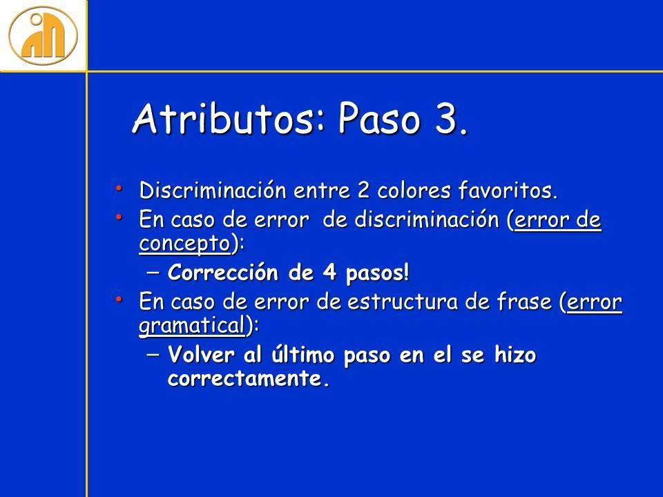 Atributos: Paso 3. Discriminación entre 2 colores favoritos. Discriminación entre 2 colores favoritos. En caso de error de discriminación (error de co