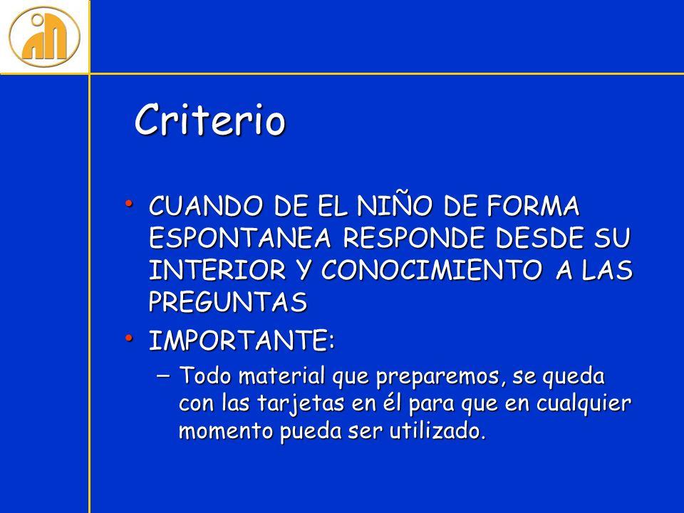 Criterio CUANDO DE EL NIÑO DE FORMA ESPONTANEA RESPONDE DESDE SU INTERIOR Y CONOCIMIENTO A LAS PREGUNTAS CUANDO DE EL NIÑO DE FORMA ESPONTANEA RESPOND
