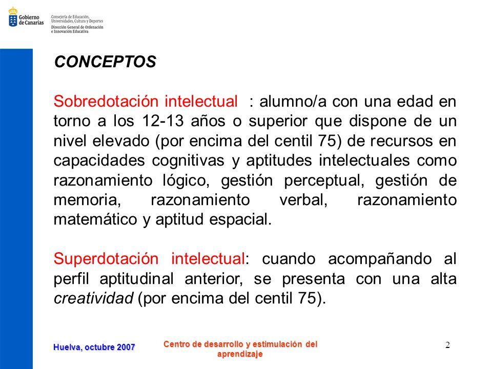 Huelva, octubre 2007 Centro de desarrollo y estimulación del aprendizaje 3 Talentos simples Un/a alumno/a talentoso/a simple es aquel que con una edad en torno a los 12-13 años o superior muestra una elevada aptitud o competencia (superior al percentil 95) en un ámbito específico, como el talento verbal, matemático, lógico o creativo, entre otros.