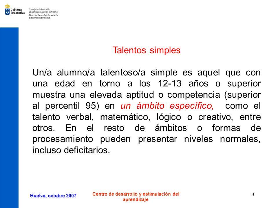 Huelva, octubre 2007 Centro de desarrollo y estimulación del aprendizaje 4 Talentos complejos Las combinaciones de varias aptitudes especificas dan lugar a talentos complejos.