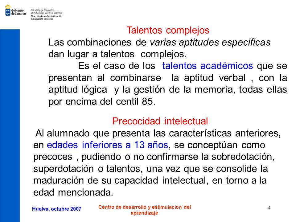 Huelva, octubre 2007 Centro de desarrollo y estimulación del aprendizaje 15 ¿Qué aspectos de la creatividad desarrolla cada actividad.