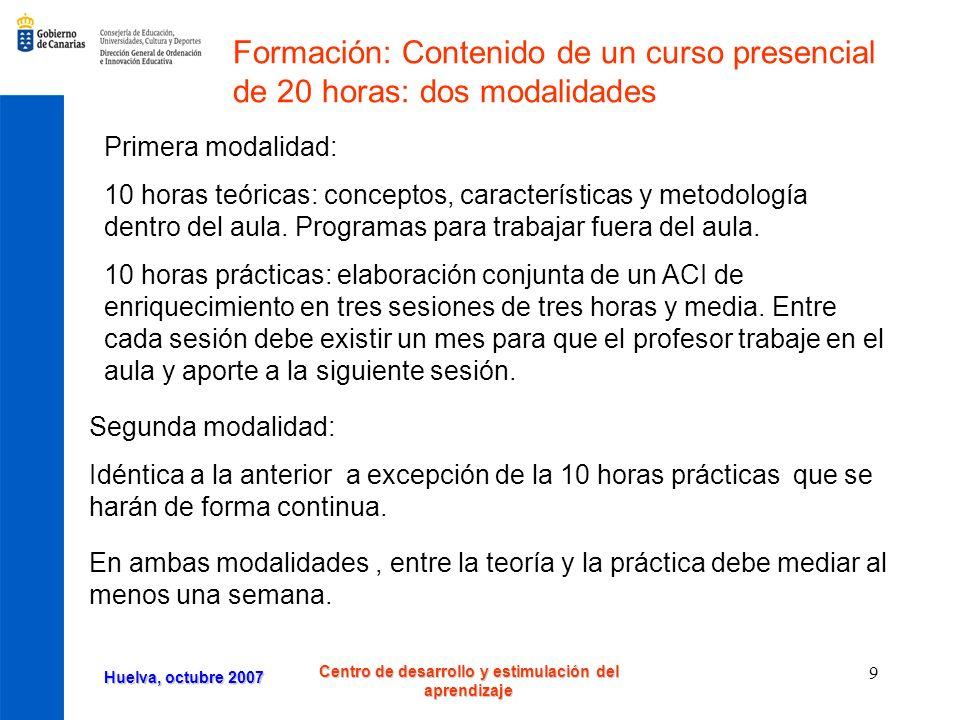 Huelva, octubre 2007 Centro de desarrollo y estimulación del aprendizaje 20 Temporalización de enero a junio La actividad se llevan a cabo de enero a junio, los sábados quincenalmente de 10 a 13 horas con grupos de 15 alumnos de Primaria identificados como precoces por sobredotación, superdotación o talentos académicos.