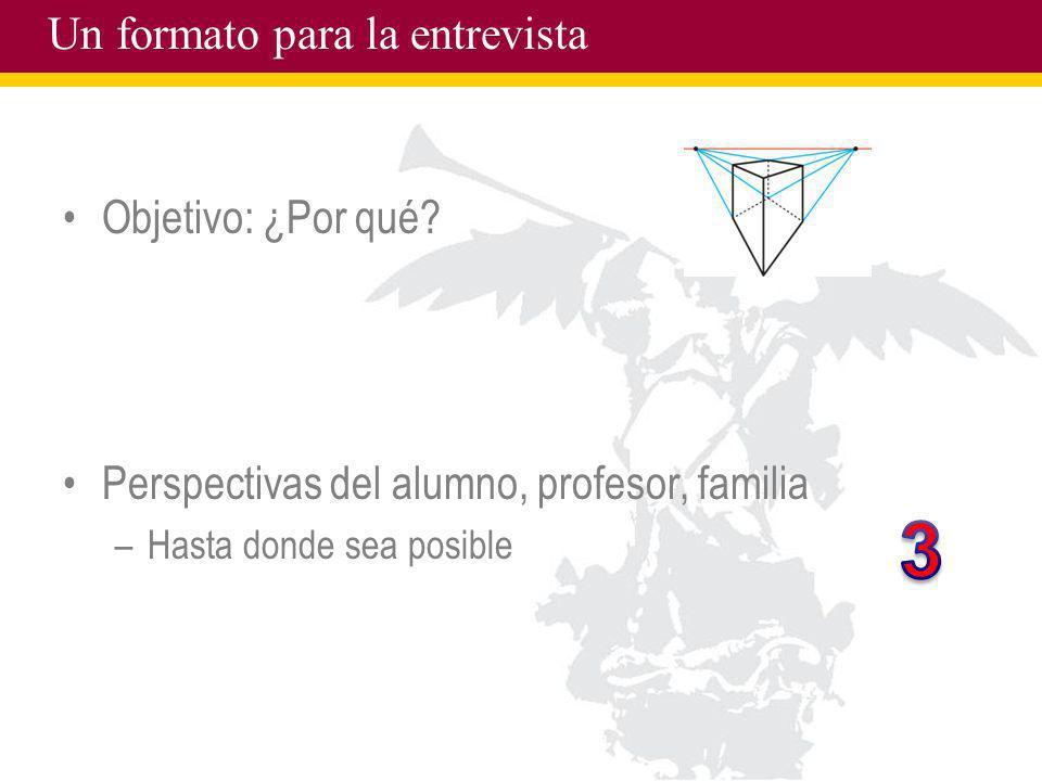 Un formato para la entrevista Objetivo: ¿Por qué? Perspectivas del alumno, profesor, familia –Hasta donde sea posible