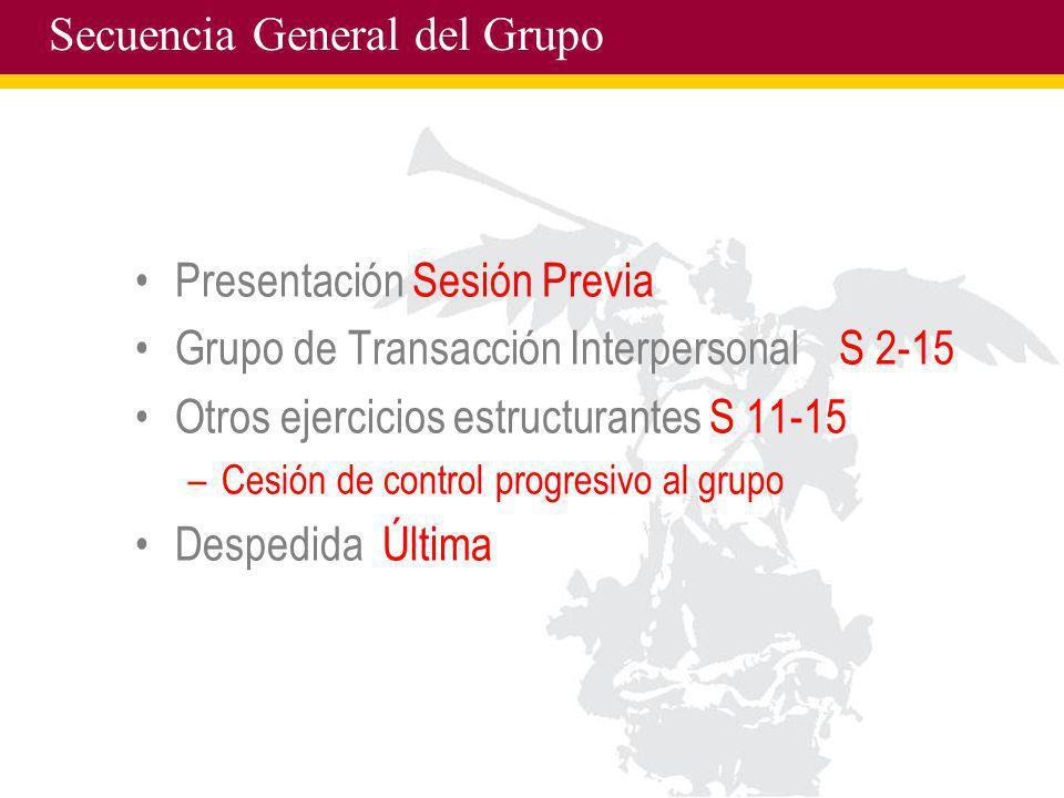 Secuencia General del Grupo Presentación Sesión Previa Grupo de Transacción Interpersonal S 2-15 Otros ejercicios estructurantes S 11-15 –Cesión de co