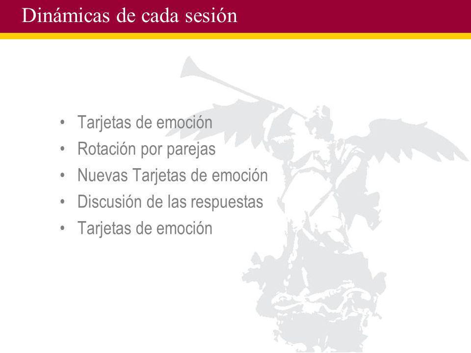 Dinámicas de cada sesión Tarjetas de emoción Rotación por parejas Nuevas Tarjetas de emoción Discusión de las respuestas Tarjetas de emoción