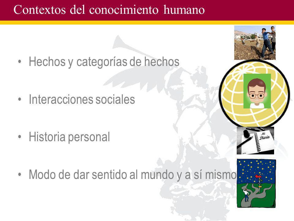 Contextos del conocimiento humano Hechos y categorías de hechos Interacciones sociales Historia personal Modo de dar sentido al mundo y a sí mismo