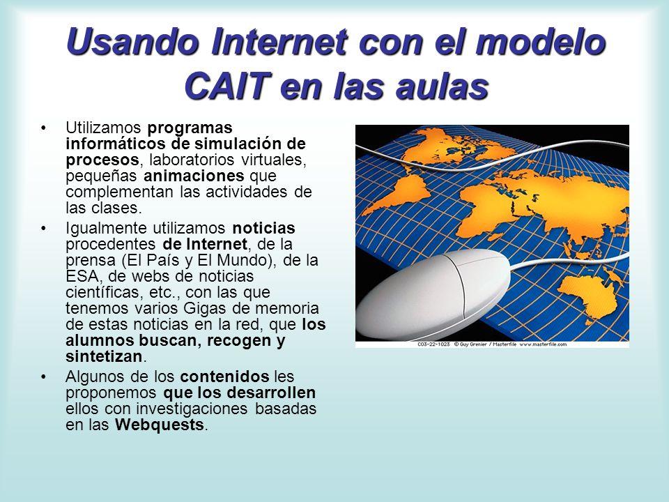 Usando Internet con el modelo CAIT en las aulas Utilizamos programas informáticos de simulación de procesos, laboratorios virtuales, pequeñas animacio